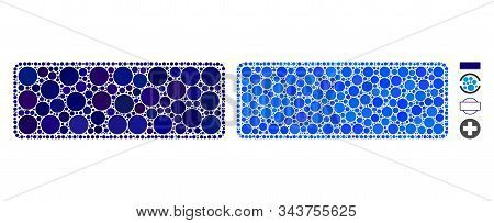 Framed Filled Rounded Rectangle Mosaic Of Filled Circles In Different Sizes And Color Tinges, Based