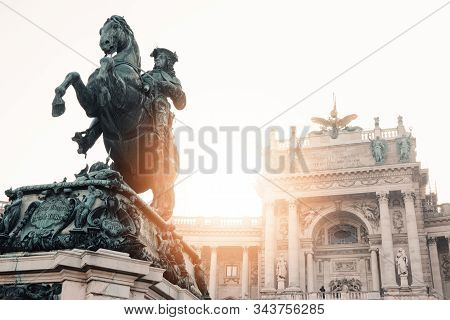 Hofburg Palace With Heldenplatz, Famous Landmark In Wien, Austrian Capital City, Vienna, Austria, Eu