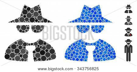 Mafia Boss Mosaic Of Filled Circles In Different Sizes And Shades, Based On Mafia Boss Icon. Vector