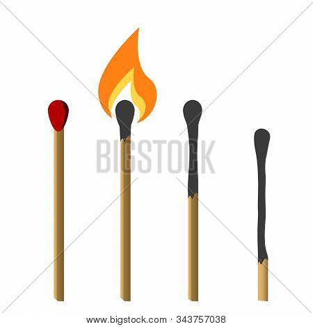 Matches, Lighted Match And Burned Match.   Flat Design Style. Vector Illustration.