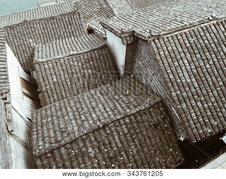 Rooftop Of Old Houses At Fenghuang (phoenix) Ancient Township In Hunan, China.
