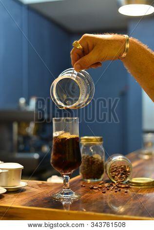 Saigon, Vietnam - Sep 22, 2019. Organic Coffee Drink (black Cold Brew Specialty Coffee) At The Vinta