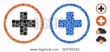 Rounded Plus Mosaic Of Round Dots In Different Sizes And Color Tinges, Based On Rounded Plus Icon. V