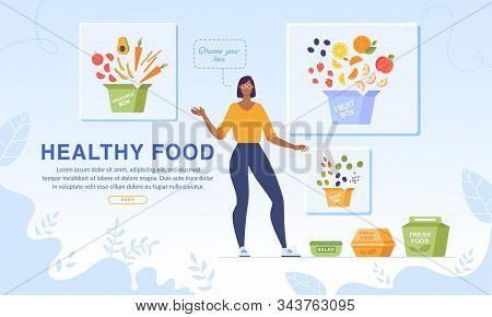Webpage Banner Promotion Healthy Food And Dietary Nutrition. Woman Character Advertising Fruits And