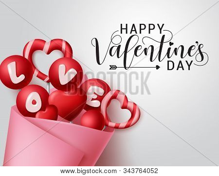 Valentines Candy Bouquet Vector Banner Template. Happy Valentines Day Greeting Text With Valentine E