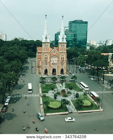 Saigon, Vietnam - Oct 22, 2015. Aerial View Of Saigon Notre-dame Cathedral Basilica (constructed Bet