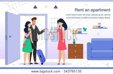 Comfortable Apartment For Rent Trendy Flat Vector Advertising Banner, Promo Poster Template. Female