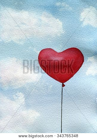 Red Heart Balloon  On A Blue Cloudy Sky, Watercolor Illustration For Valentines Day, Red Heart Shape