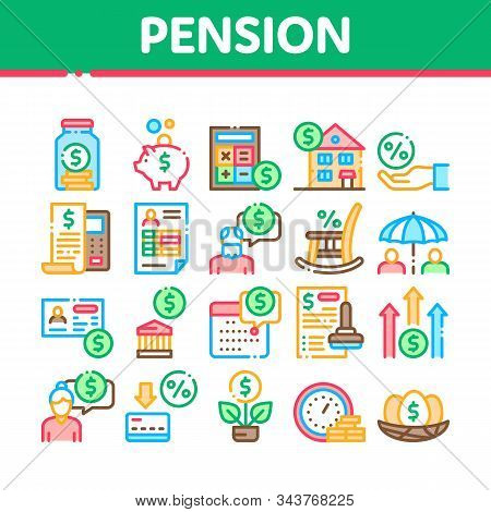 Pension Retirement Collection Icons Set Vector Thin Line. Money In Glass Bottle And Box, Calculator