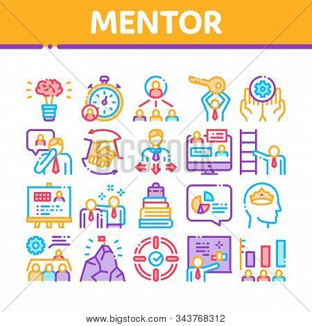 Mentor Relationship Collection Icons Set Vector Thin Line. Human Holding Key And Gear, Stopwatch And