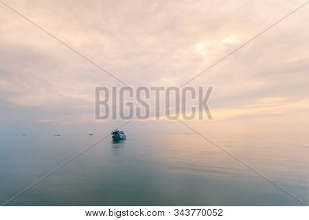An Old Shipwreck Or Abandoned Shipwreck.,wrecked Boat Abandoned Stand On Beach Or Shipwrecked Off Th