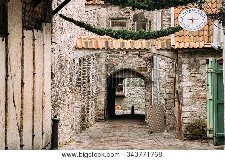 Tallinn, Estonia - December 5, 2016: Ancient Tombstones In St. Catherines Passage From St. Catherine