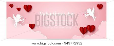 Valentines day concept. Valentines day banner, clouds in the sky, angels, hearts. Heart origami mobile. Valentine, valentine day, Valentines Day background, Valentine's day banners, Valentines Day flyer, Valentines Day design, Valentines Day with Heart on