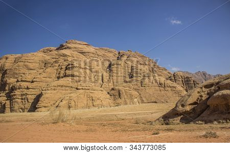 Aerial Top View Desert Landscape Of Jordanian Wadi Rum Famous Touristic Destination Sand Valley And