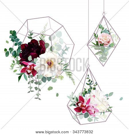 Flower Geometric Glass Hanging Terrarium Vector Design Objects. Wedding Flowers Bouquets. Ivory Whit