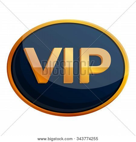 Oval Inscription Vip Icon. Cartoon Of Oval Inscription Vip Vector Icon For Web Design Isolated On Wh