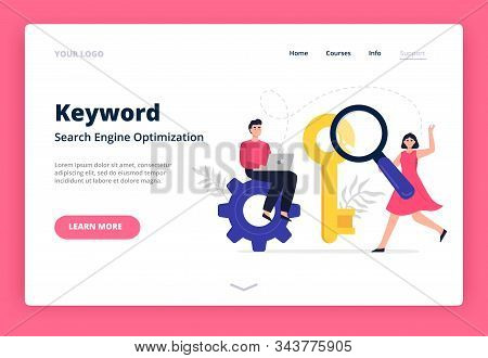 Landing Page Template On Search Engine Optimization Theme. Web Developers With Magnifying Glass Sear