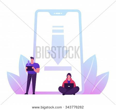 Free Download Concept. People Characters Stand At Huge Mobile Phone With Upload Sign On Smartphone S
