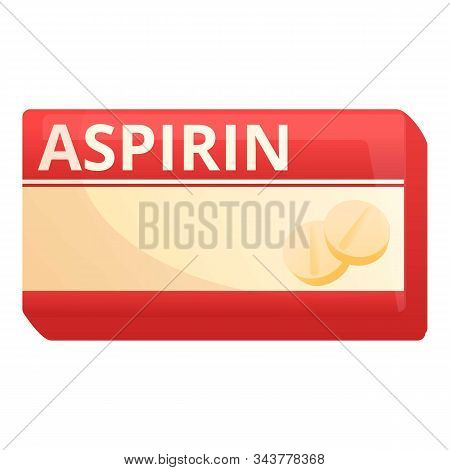 Aspirin Package Icon. Cartoon Of Aspirin Package Vector Icon For Web Design Isolated On White Backgr