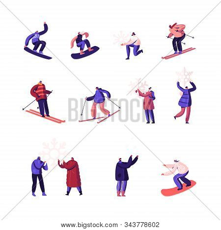 Winter Time Season Holidays Entertainment Activity Set. Happy People Riding Snowboard And Skis, Play