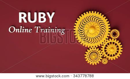 3d Rendering Of Advertising Banner For Ruby Online Training With Composition Of Yellow Interlocking