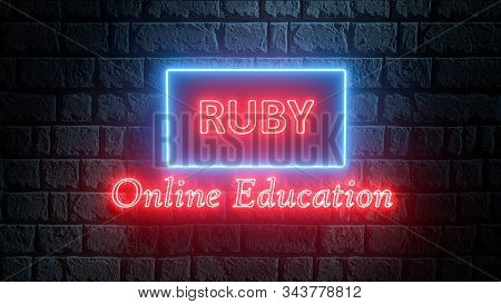 3d Illustration Of Neon Ruby Online Education. Learn To Code Ruby Programming Language. Glowing Ruby