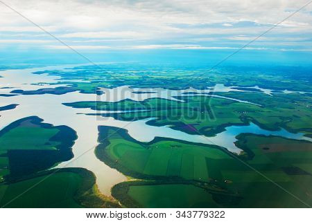 Manaus, Amazonas, Brazil: Top View Of The River. Beautiful Landscape From The Window Of The Airplane
