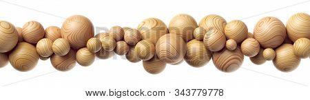 Wooden Balls Horizontal Composition On White Background 3d Illustration