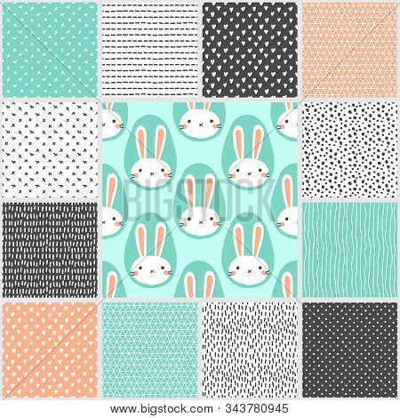Cute Set Of Scandinavian Easter Seamless Patterns With Hand Drawn Rabbits Egg Shaped Portrait, Creat