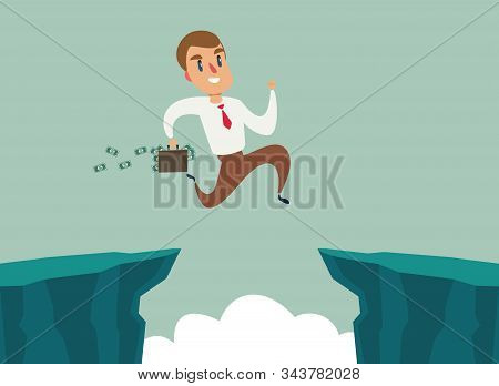 Businessman Jump Over Cliff Gap, Overcome The Difficulty. Business Concept - Vector