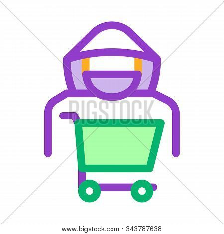 Shopping Cart Thief Icon Vector. Outline Shopping Cart Thief Sign. Isolated Contour Symbol Illustrat