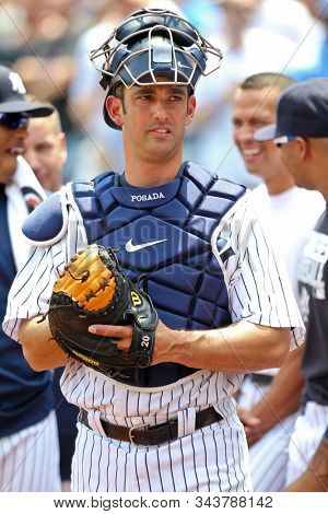 BRONX, NY - JUN 26: Former New York Yankees catcher Jorge Posada during The New York Yankees 65th Old Timers Day game on June 26, 2011 at Yankee Stadium.