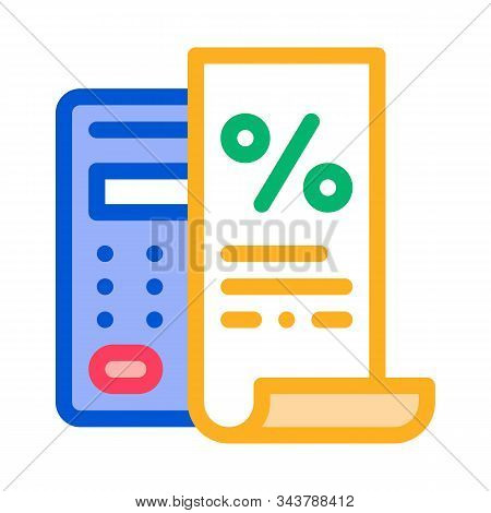 Check With Mathematical Interest Calculations Icon Vector. Outline Check With Mathematical Interest