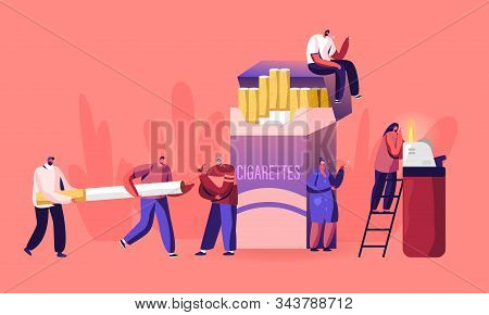 Smokers And Smoking Addiction Concept. Young And Old People Smoke Near Huge Cigarettes Box, Senior W