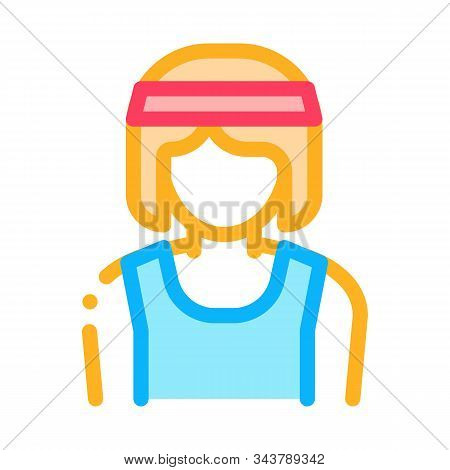 Female Athlete Sportsman Icon Vector. Outline Female Athlete Sportsman Sign. Isolated Contour Symbol