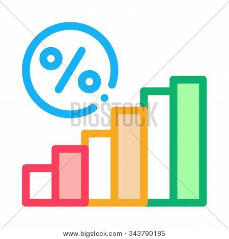 Interest Rising Statistics Icon Vector. Outline Interest Rising Statistics Sign. Isolated Contour Sy