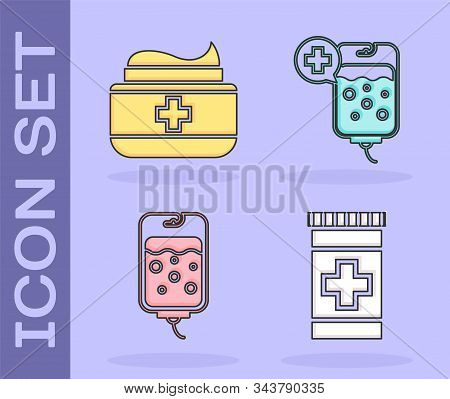 Set Medicine Bottle, Ointment Cream Tube Medicine, Iv Bag And Iv Bag Icon. Vector