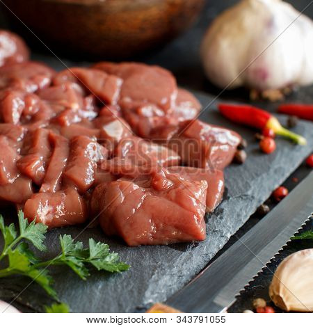 Raw Beef Liver With Spices, Herbs  And Vegetables