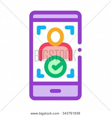 Phone Person Verification Icon Vector. Outline Phone Person Verification Sign. Isolated Contour Symb