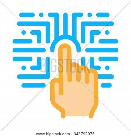 Biometric Fingerprint Verification Icon Vector. Outline Biometric Fingerprint Verification Sign. Iso