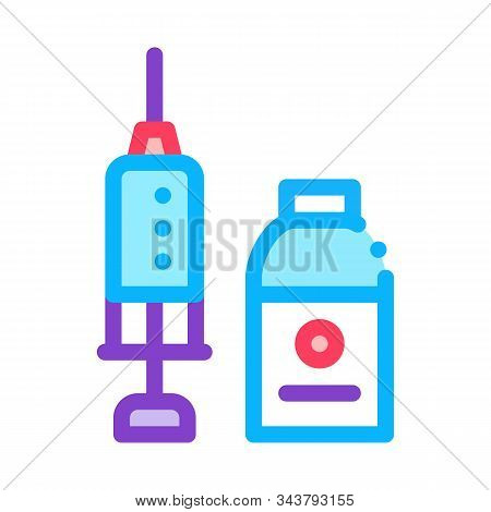 Syringe And Medicine Beaker Icon Vector. Outline Syringe And Medicine Beaker Sign. Isolated Contour