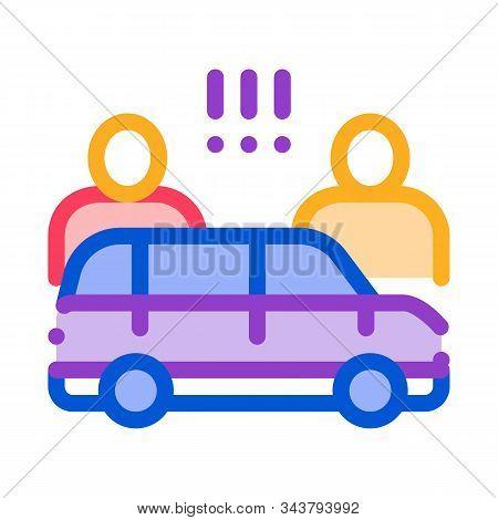 Quarrel Between Car Drivers Icon Vector. Outline Quarrel Between Car Drivers Sign. Isolated Contour