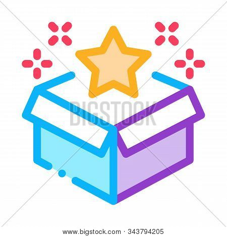 Star Bonus Box Icon Vector. Outline Star Bonus Box Sign. Isolated Contour Symbol Illustration