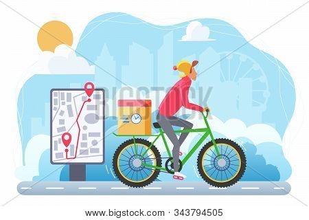Cycle Winter Extreme Delivery Flat Vector Illustration. Courier On Bicycle Cartoon Character. Ecolog