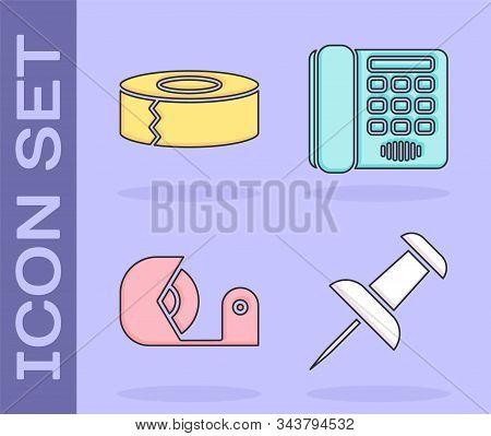 Set Push Pin, Scotch, Scotch And Telephone Icon. Vector