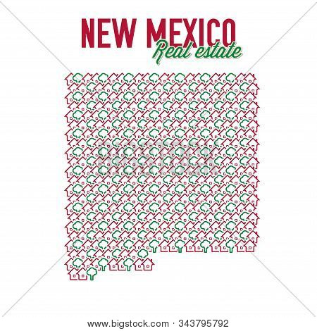 New Mexico Real Estate Properties Map. Text Design. New Mexico Us State Realty Creative Concept. Ico