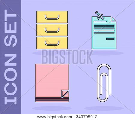 Set Paper Clip, Drawer With Documents, File Document And Note Paper With Pinned Pushbutton Icon. Vec