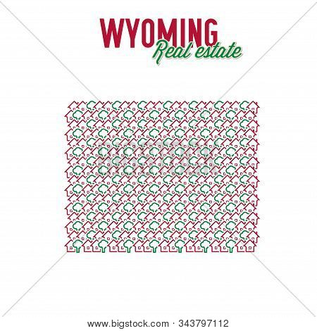 Wyoming Real Estate Properties Map. Text Design. Wyoming Us State Realty Creative Concept. Icons Of