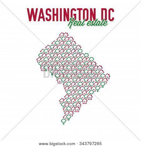 Washington, Dc Real Estate Properties Map. Text Design. Washington, Dc Realty Creative Concept. Icon