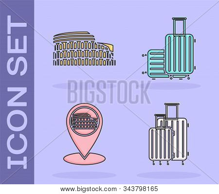 Set Suitcase For Travel, Coliseum In Rome, Italy, Map Pointer With Coliseum In Rome, Italy And Suitc